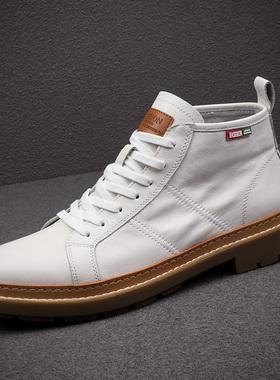 马丁靴男鞋2021新款潮鞋真皮高帮鞋工装靴子白色皮靴男英伦风短靴