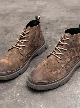 马丁靴男英伦风真皮复古靴子秋季布洛克高帮皮鞋翻毛男鞋夏季潮鞋