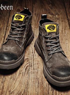 卡宾马丁靴男士高帮鞋子真皮潮鞋中帮工装雪地靴男鞋2021秋季新款