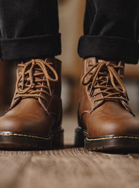 男鞋秋季马丁靴高帮英伦风工装靴中帮潮鞋男百搭真皮沙漠靴短靴子