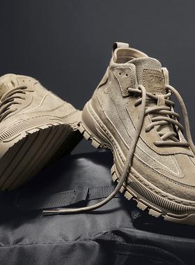 马丁靴男潮鞋冬季韩版百搭真皮休闲高帮皮鞋英伦风中帮男鞋工装靴