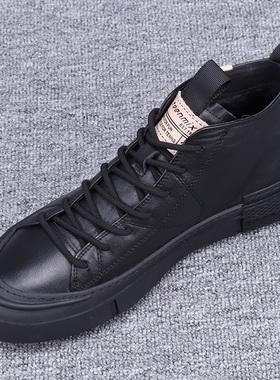 欧洲站男鞋秋季潮鞋2021新款真皮高帮鞋男韩版男士棉鞋休闲黑板鞋