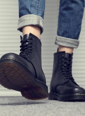真皮马丁靴男高帮英伦风中帮韩版百搭潮鞋工装靴黑色机车秋季男鞋
