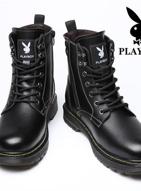 花花公子马丁靴春季透气高帮男鞋英伦风中帮软面工装真皮靴子潮鞋