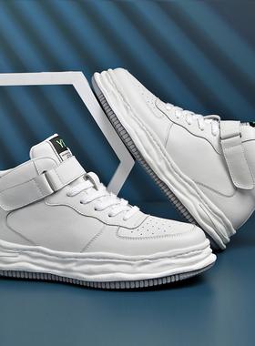 男鞋秋季潮鞋2021新款aj真皮高帮休闲板鞋男士空军一号运动小白鞋