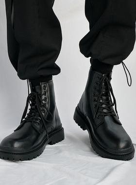 真皮马丁靴男高帮英伦风ins中帮潮鞋工装厚底黑色机车秋冬季男鞋