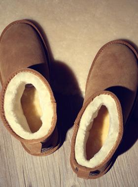 男士雪地靴男鞋子冬季短靴加厚加绒保暖棉鞋真皮防水情侣面包鞋女