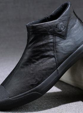 男鞋皮鞋秋季休闲高帮一脚蹬加绒棉鞋冬季鞋子2021新款男士马丁靴