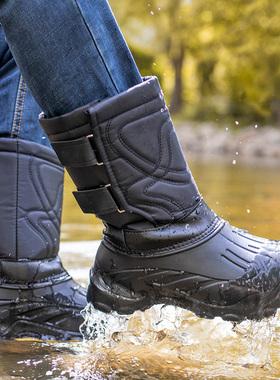 冬季内胆加绒雪地靴男士中筒防水保暖户外钓鱼高筒棉靴子冬天男鞋
