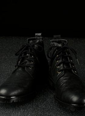 冬季新款2019年韩版马丁靴 时尚潮流真皮男鞋 男士手工格纹短靴