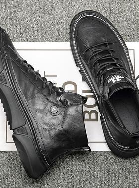 秋冬季黑色高帮板鞋男休闲鞋复古百搭男鞋2019新款靴子男潮鞋英伦