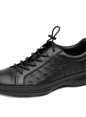 意大利进口沙驰男鞋2019冬季新款高档休闲皮鞋鸵鸟皮超轻底单鞋
