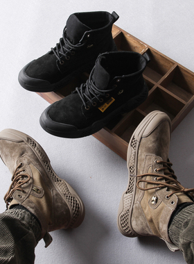 男鞋秋冬季2019新款猪八革中帮靴子工装鞋英伦马丁靴战术靴沙漠靴