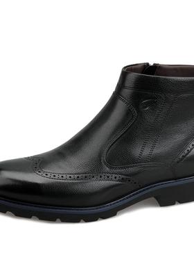 正品沙驰男鞋2019冬季新款牛皮商务休闲皮鞋布洛克马丁靴加绒棉鞋