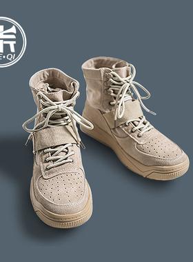 男鞋秋季2019新款鞋子冬季潮英伦中帮沙漠靴子马丁靴高帮帆布鞋男