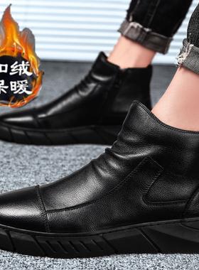 欧洲站男鞋冬季加绒潮鞋2019新款男士休闲高帮皮鞋英伦风切尔西靴