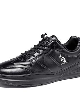 阿尔皮纳袋鼠男鞋冬季棉鞋2019新款休闲鞋超纤皮黑色百搭鞋子男