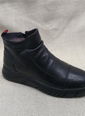 工厂直销男鞋2019冬季新款黑色圆头舒适休闲厚底羊毛里保暖高帮鞋