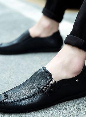 冬季2019新款单鞋加厚豆豆鞋男士懒人鞋精神小伙鞋皮鞋休闲男鞋子