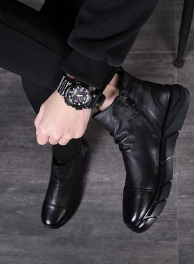 男鞋冬季2019新款加绒保暖鞋子男靴马丁靴男中帮皮鞋靴子高帮棉鞋