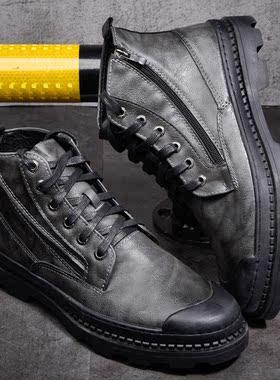 2019冬季新款马丁靴高帮男鞋迷彩作战短靴保暖防臭韩版复古休闲鞋