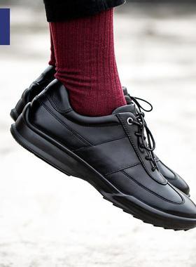 男鞋潮鞋2019新款秋冬季一体成型缓震运动时尚休闲皮鞋