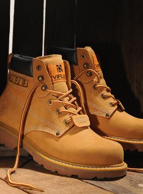 马丁靴男款潮大黄靴冬季加绒男靴中帮英伦风工装靴高帮男鞋皮靴黄