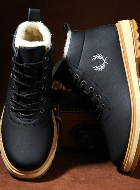 冬季雪地靴男保暖加绒马丁靴中帮英伦风短靴棉鞋韩版潮流高帮男鞋