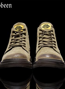 卡宾高帮马丁靴男冬季加绒保暖英伦风工装真皮男士靴子中帮男鞋潮