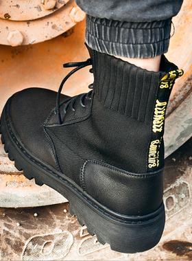 马丁靴男2021冬季加绒真皮高帮工装鞋中帮战狼靴潮男靴英伦风男鞋