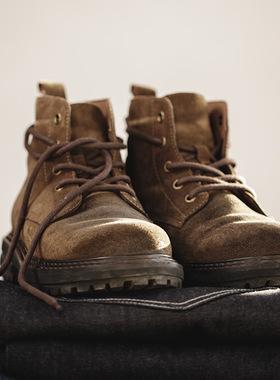 工装靴男鞋冬季复古加绒中帮沙漠靴休闲真皮靴子高帮英伦风马丁靴