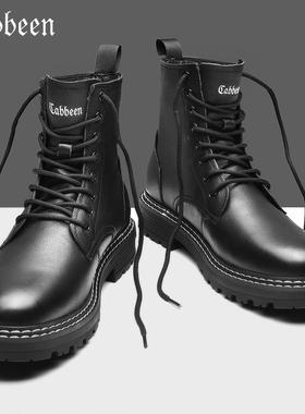 卡宾马丁靴男冬季加绒保暖高帮男士靴子英伦风真皮男靴男鞋中帮潮