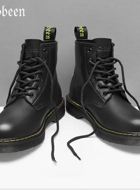 卡宾男鞋男士马丁靴男高帮英伦风工装靴皮靴中帮靴子男靴冬季加绒