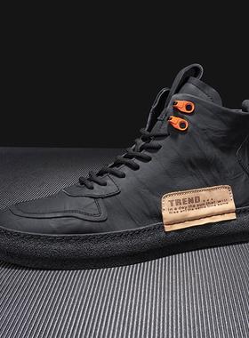 英伦风男鞋2021冬季新款马丁靴男暗黑高帮板鞋真皮加绒保暖高邦鞋