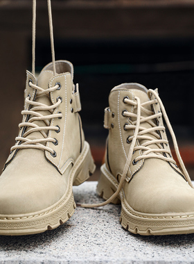 高帮马丁靴男秋冬季作战训靴加绒保暖男鞋英伦风中帮棉鞋工装潮鞋