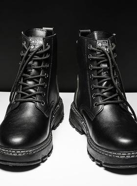 高帮马丁男靴子秋冬季英伦风男鞋加绒黑色皮靴2021年新款工装棉靴
