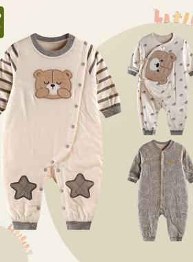 拉比母婴旗舰店春秋婴儿宝宝长袖哈衣绑带夹薄棉保暖全开连体衣
