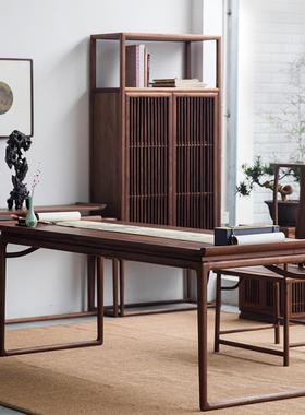 新中式书桌画案禅意画桌翘头办公桌实木茶桌黑胡桃老板仿古家具