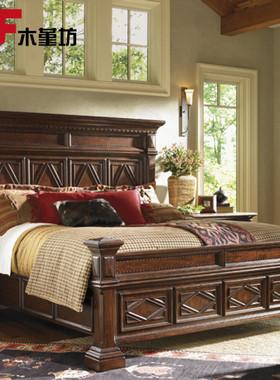 美式床轻奢实木1.8米双人床北欧简约家具法式乡村橡木高端家具