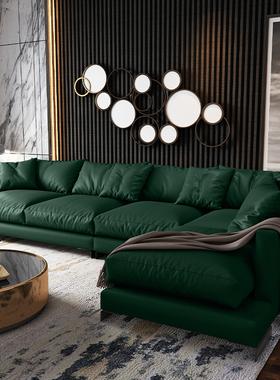 轻奢墨绿客厅家具/头层牛皮/小户型转角简约现代真皮沙发组合8001
