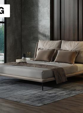 顶冠真皮床卧室双人床1.8米1.5现代简约风格软靠包皮艺床意式家具