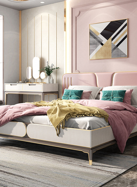 床现代简约板式双人床经济型北欧主卧婚床公主小户型家具套装组合