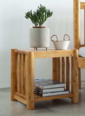 床头柜实木全实木木质边几简约现代中式卧室家具柏木茶水柜餐几