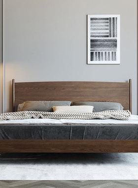 北欧双人实木床日式现代简约白蜡木婚床胡桃色木蜡油轻奢卧室家具