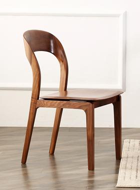 大山家具实木北欧餐椅日式现代简约北美黑胡桃木大椅子靠背椅原木