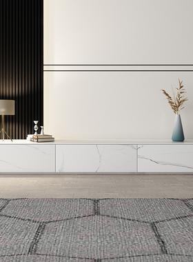 意式轻奢岩板茶几电视柜组合现代简约小户型家具轻奢极简客厅地柜