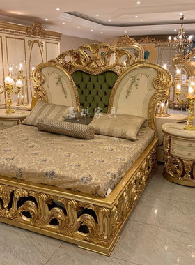 欧式奢华全实木双人床法式宫廷风别墅雕花公主婚床1.8m主卧房家具