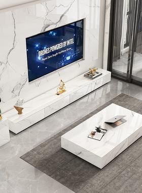 亮光岩板轻奢电视柜茶几组合现代简约客厅网红实木家具意式落地柜