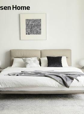 MonsenHome真皮床简约现代软包轻奢北欧家具ins意式主卧双人婚床