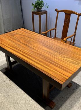 奥坎实木大板茶桌茶盘茶台红木家具简约新中式办公桌整块巴花黑檀